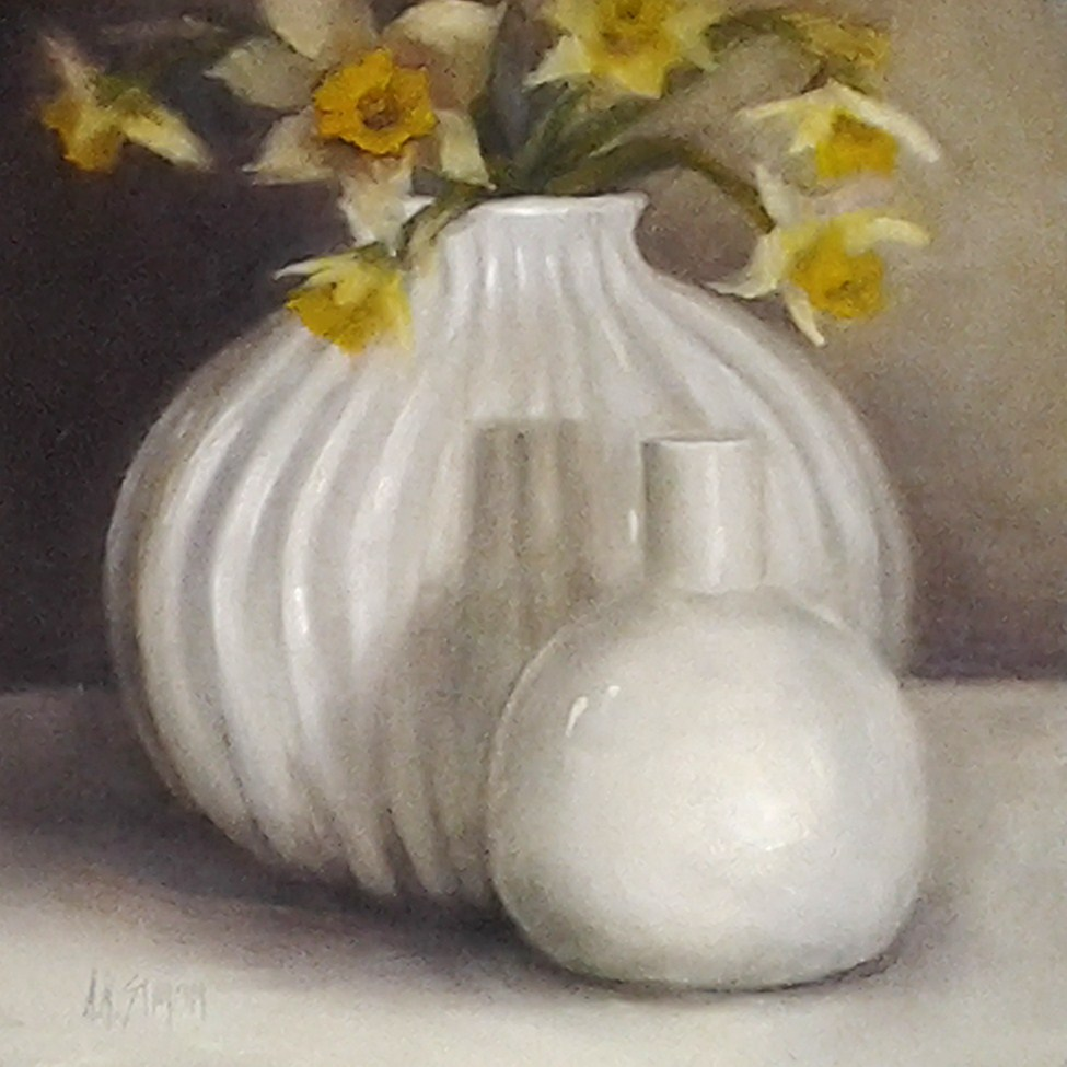 """White Duo and Daffodils"" original fine art by A.K. Simon"
