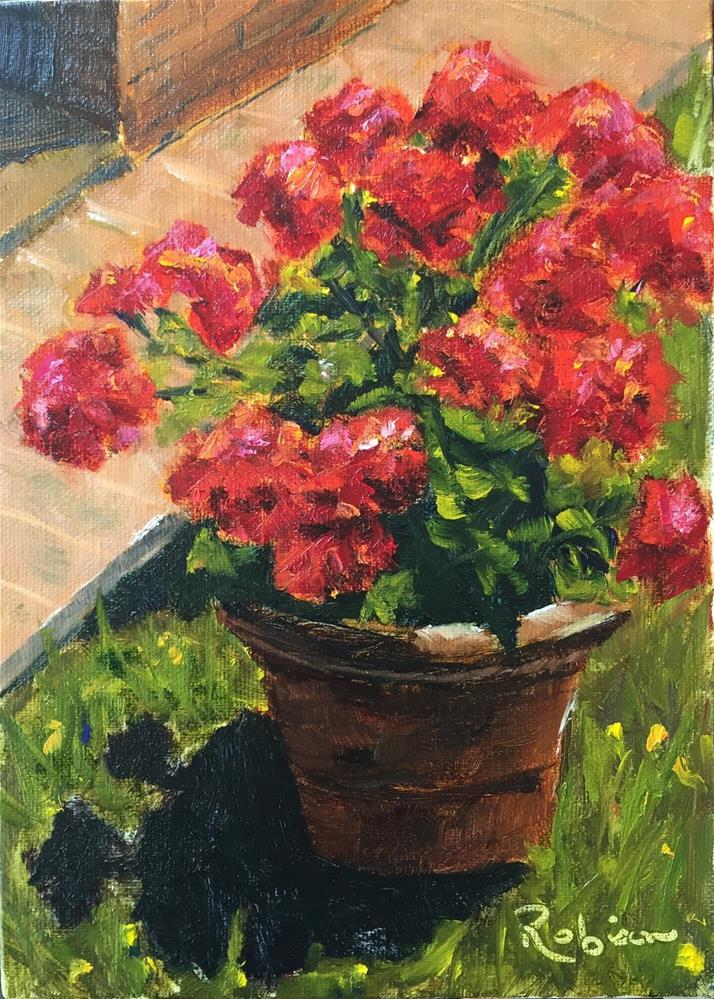 """Geranium Shadows"" original fine art by Renee Robison"