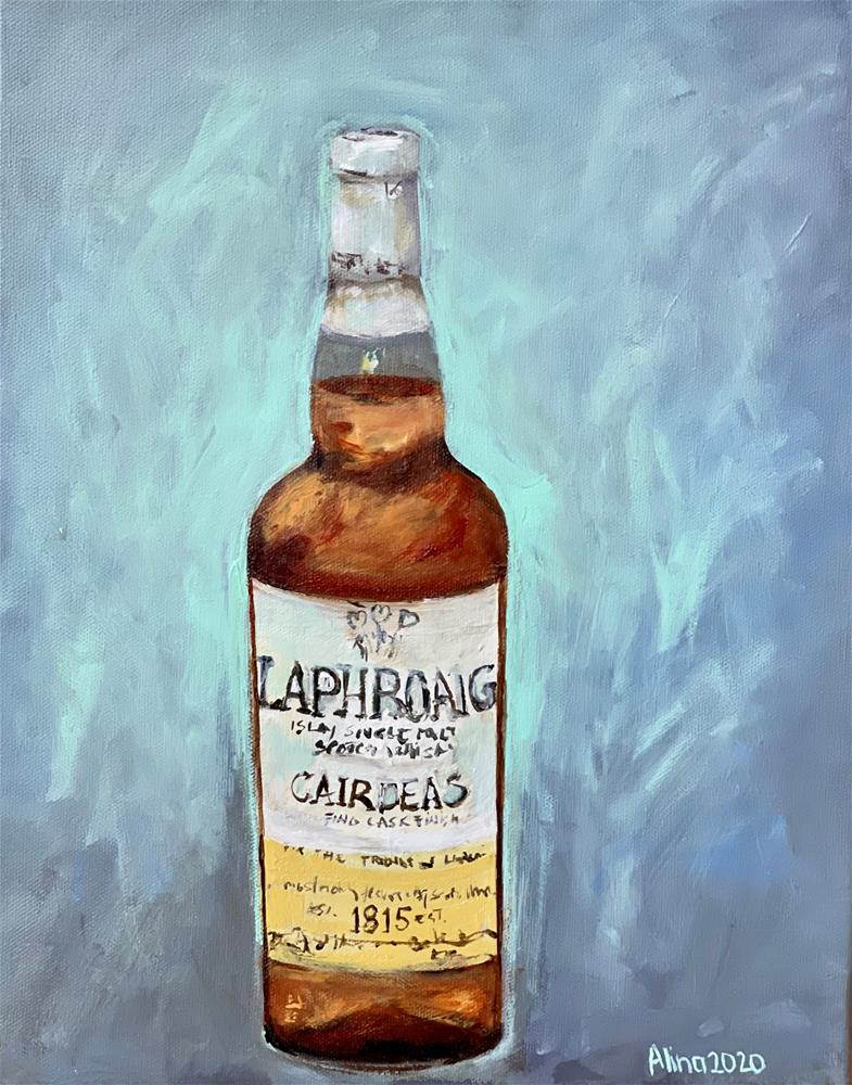 """Whisky Bottle"" original fine art by Alina Vidulescu"