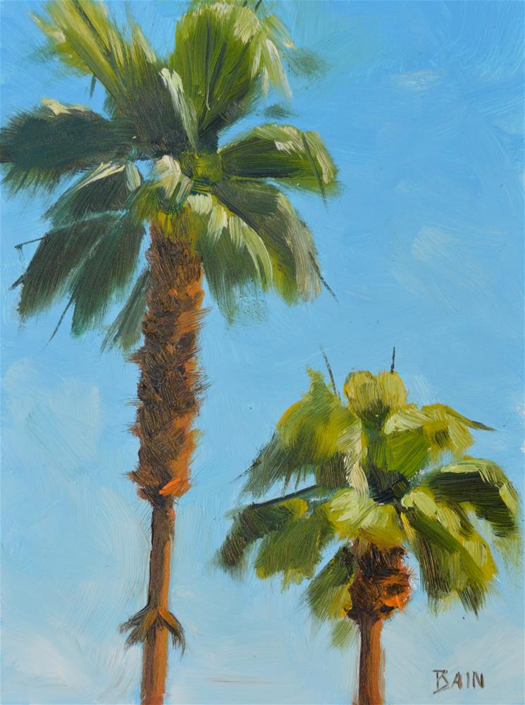 """Two Palms"" original fine art by Peter Bain"