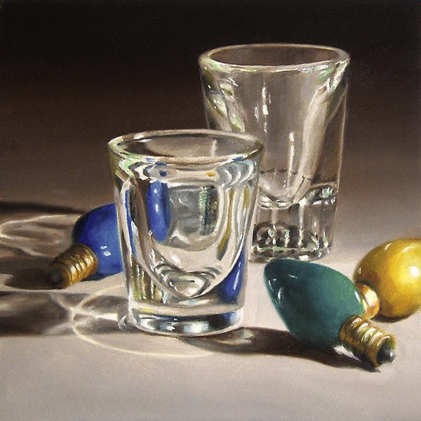 """Glasses and Christmas Ornaments"" original fine art by Nance Danforth"