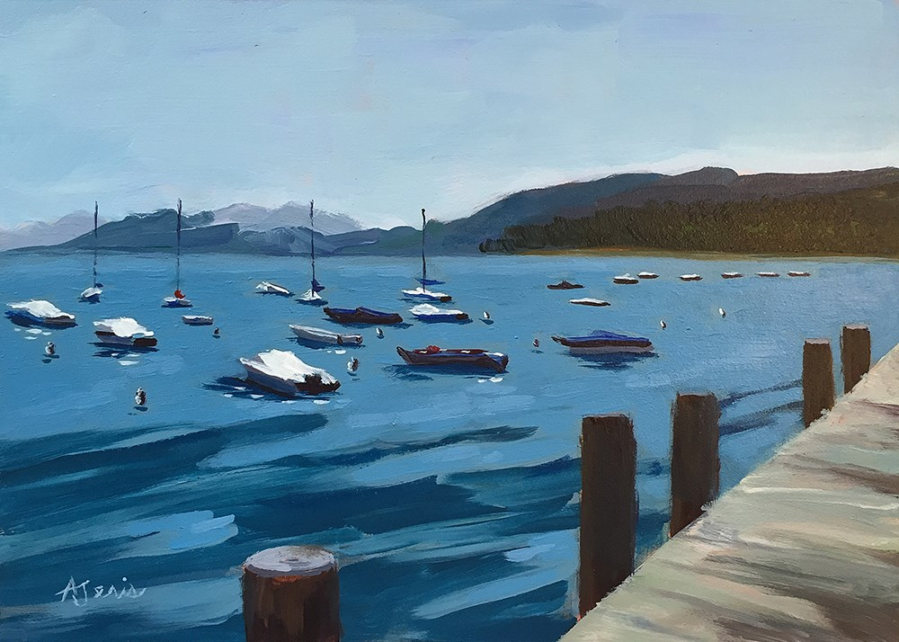 """Arriving at the Dock"" original fine art by Andrea Jeris"