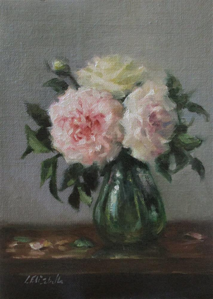 """Still Life with Fantin's Roses,  5x7 Oil on linen Panel"" original fine art by Carolina Elizabeth"