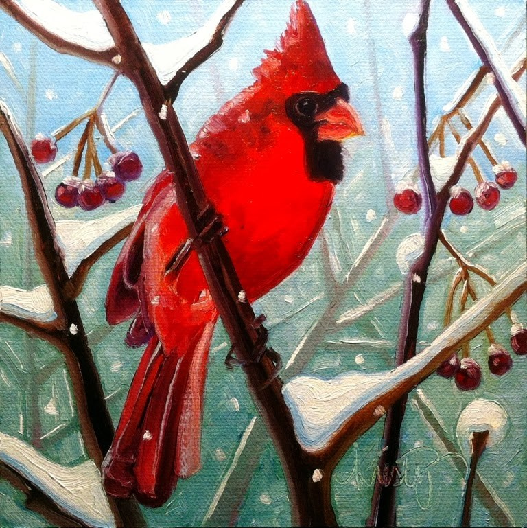 """REDBIRD IN WINTER"" original fine art by Kristy Tracy"