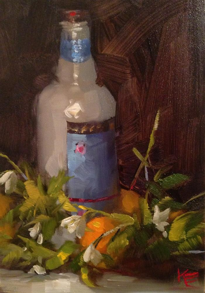 """Oranges & Belgium Bottle"" original fine art by Krista Eaton"