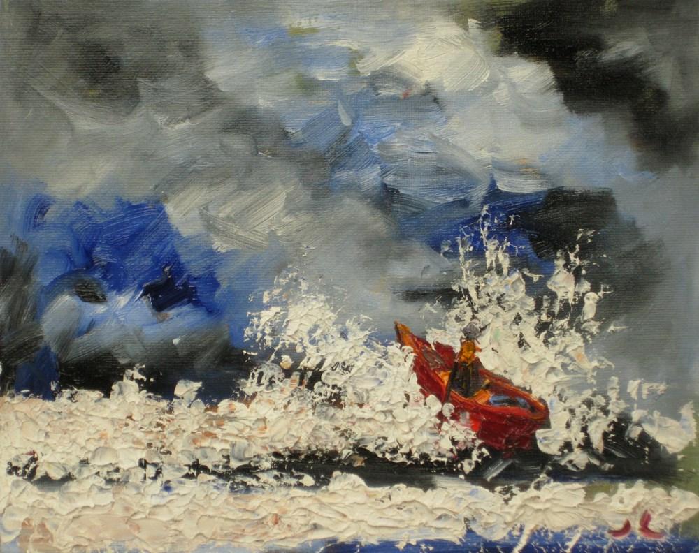"""Rain on the sea"" original fine art by Julia Lu"