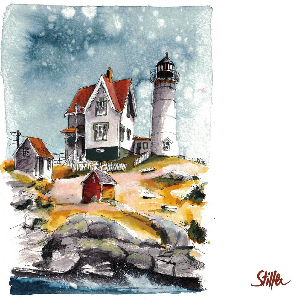 """""""3434 Sandy Lighthouse """" original fine art by Dietmar Stiller"""