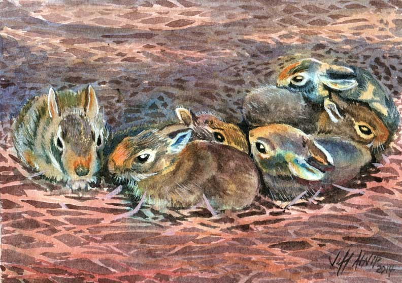 """Bunny Bunch"" original fine art by Jeff Atnip"