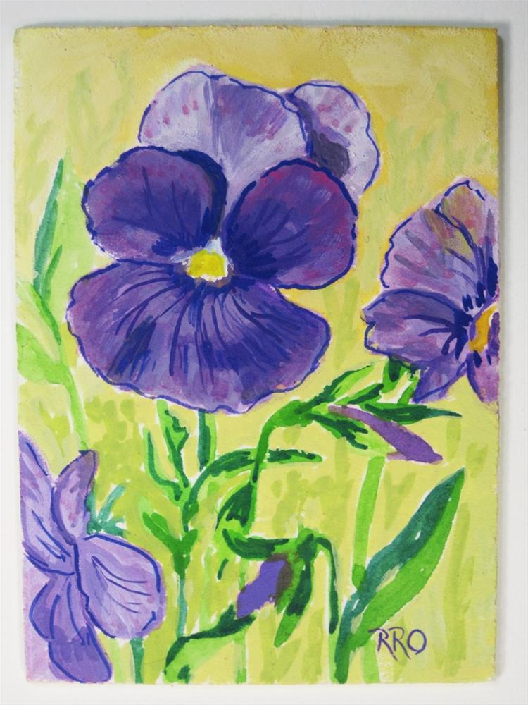 """Lavender Pansy - ACEO"" original fine art by Rhett Regina Owings"