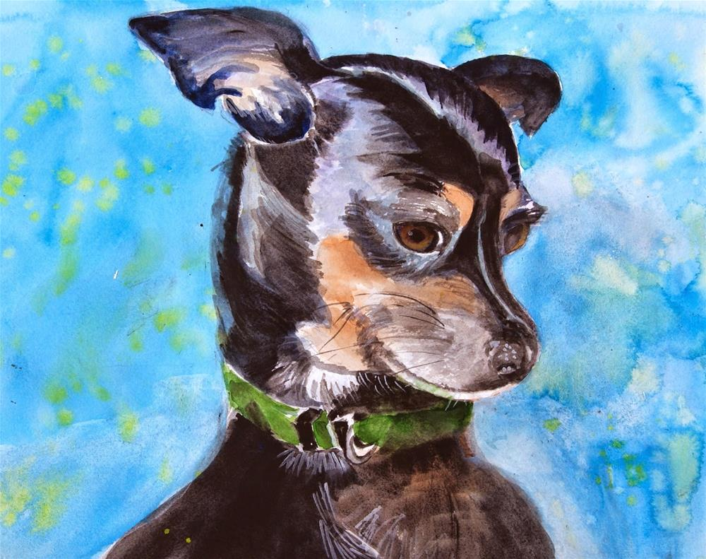 """""""Portrait of Bean the Chihuahua"""" original fine art by Reveille Kennedy"""