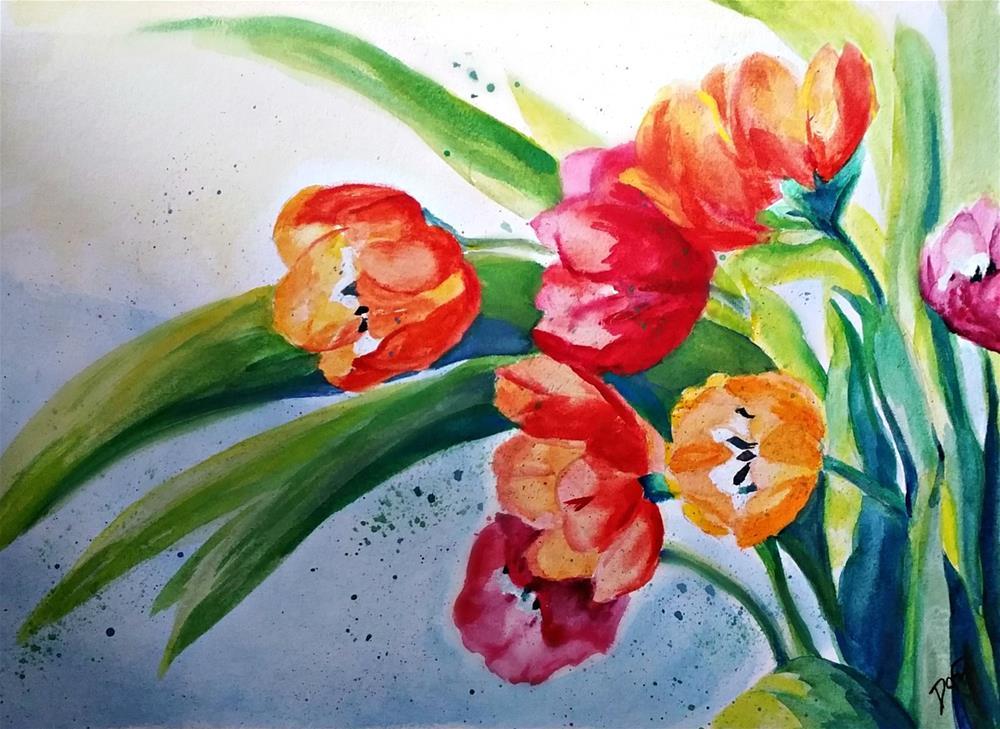"""Tulip Spray"" original fine art by Dana C"