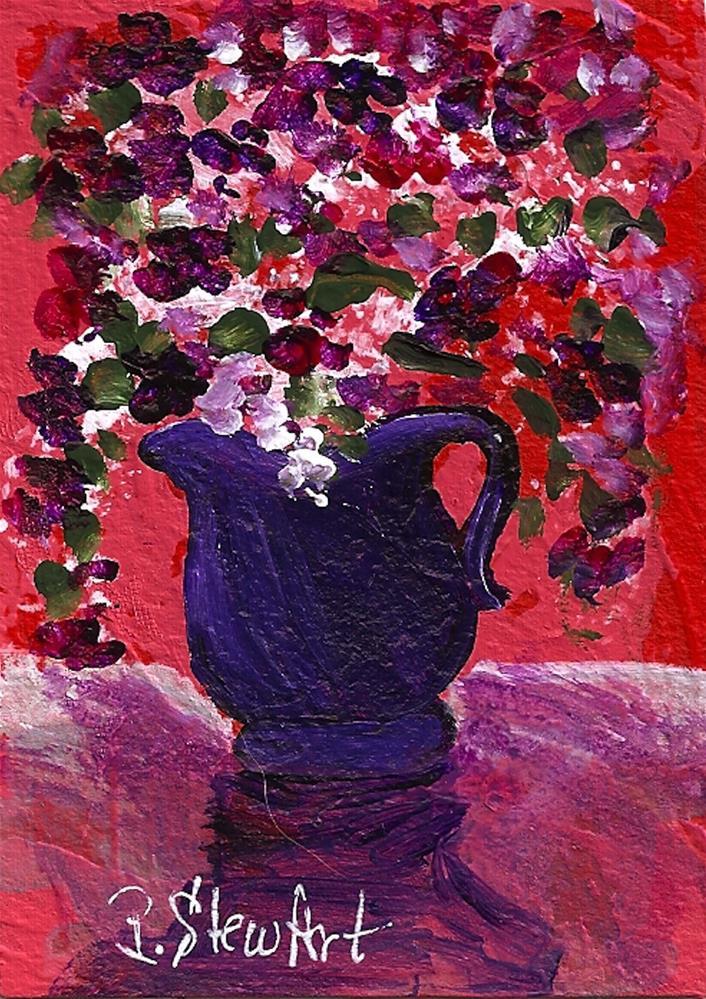 """""""ACEO Purple & Red Flowers in a Pitcher, Acrylic, Original Art, OOAK"""" original fine art by Penny Lee StewArt"""