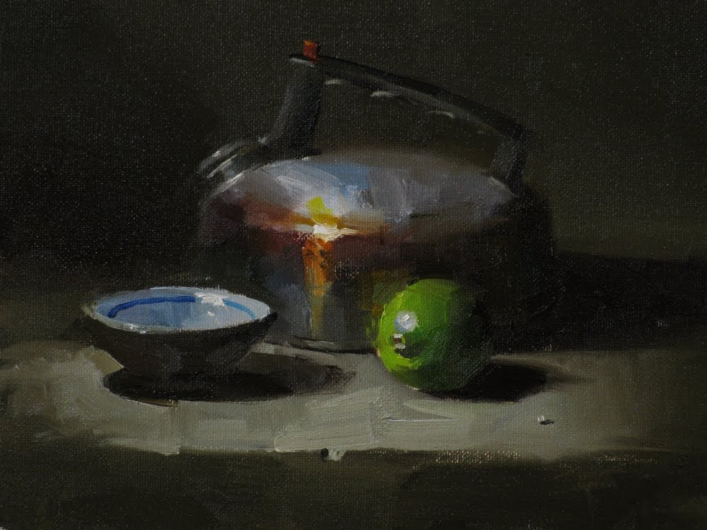 """Happy Tea Kettle"" original fine art by Qiang Huang"