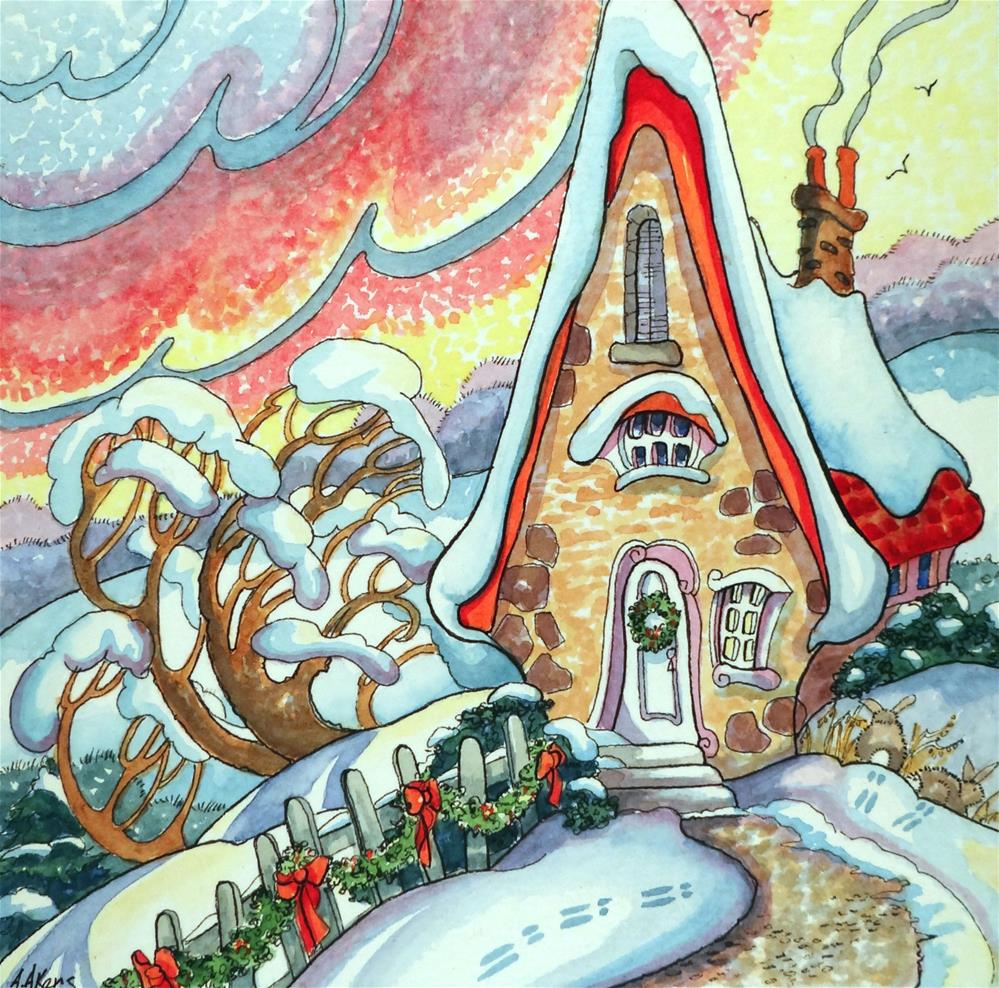 """""""Rosy Winter Dawn Storybook Cottage Series"""" original fine art by Alida Akers"""