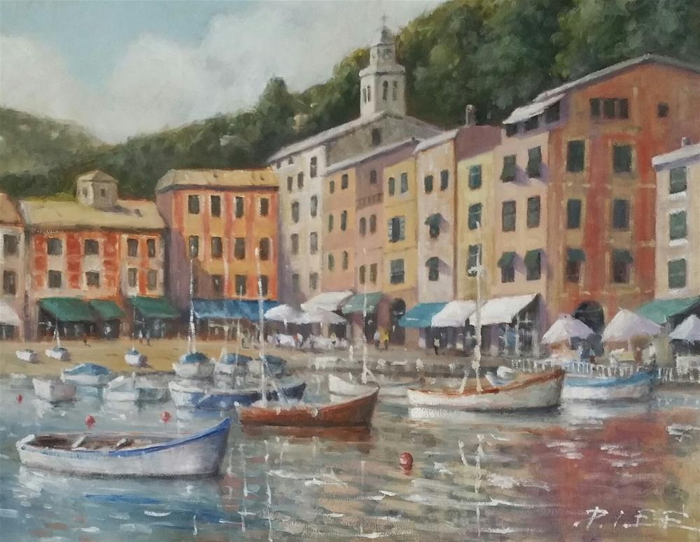 """Portofino Bay Italy"" original fine art by Peter Lee"