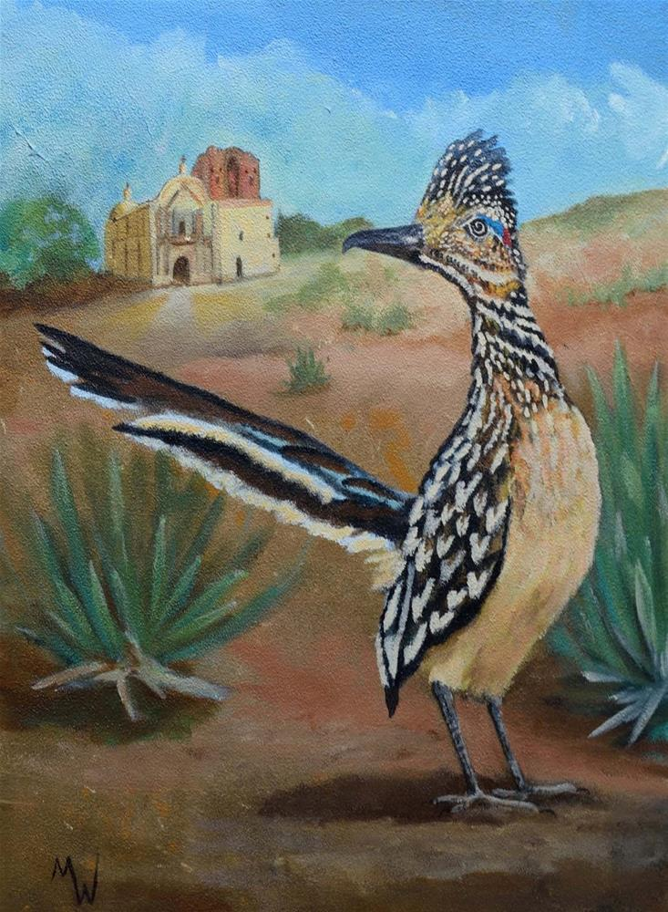 """Roadrunner at Tumacacori"" original fine art by Michelle Wolfe"