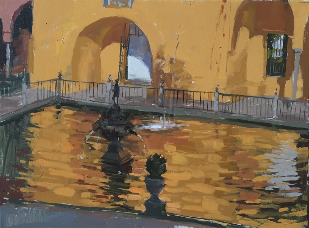 """Yellow pavilion with Mercury fountain"" original fine art by Haidee-Jo Summers ROI"