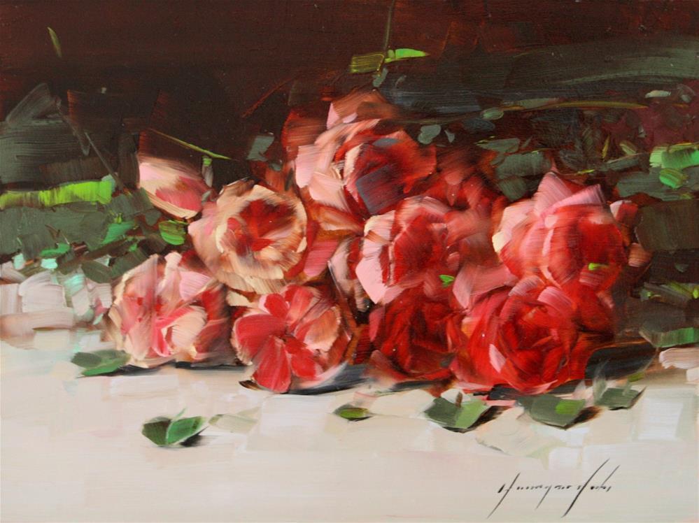 """ROSES ORIGINAL OIL PAINTING"" original fine art by V Y"