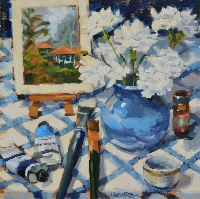"""""""Carnation Blues"""" original fine art by Karen Werner"""