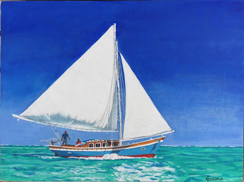 """Sailing"" original fine art by Garima Heath"