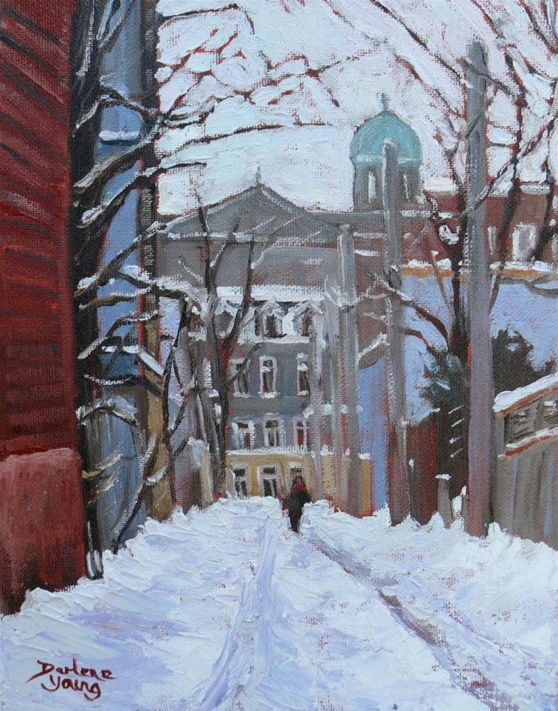 """1065 Montreal Le Plateau Scene, 8x10, oil on board"" original fine art by Darlene Young"