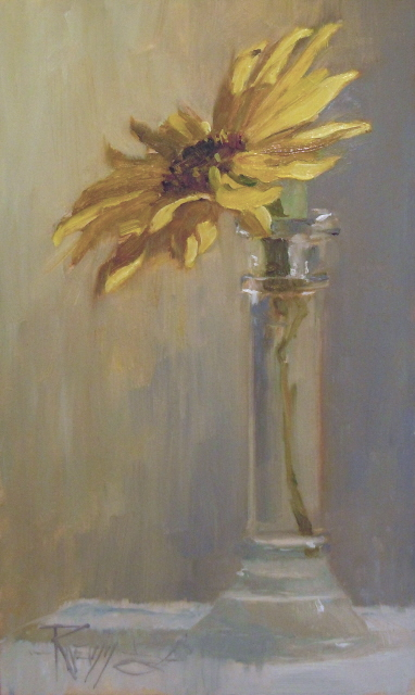 """One for the Sun  sunflower still life painting"" original fine art by Robin Weiss"