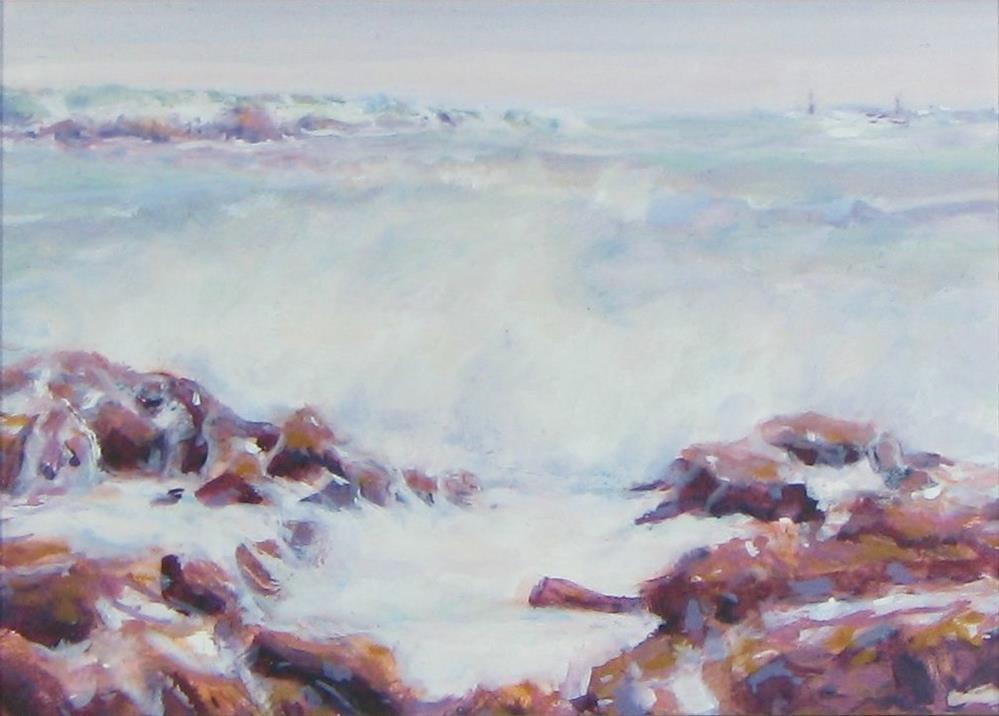 """""""Bass Rocks, Winter"""" original fine art by J Kelsey"""