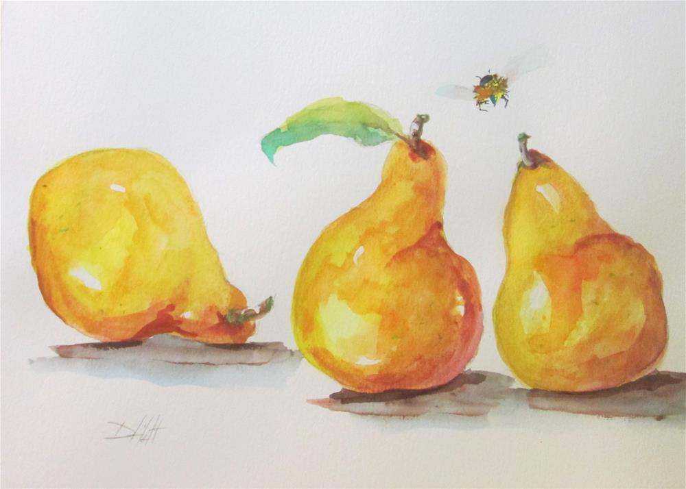 """Three Yellow Pears and a Bee"" original fine art by Delilah Smith"