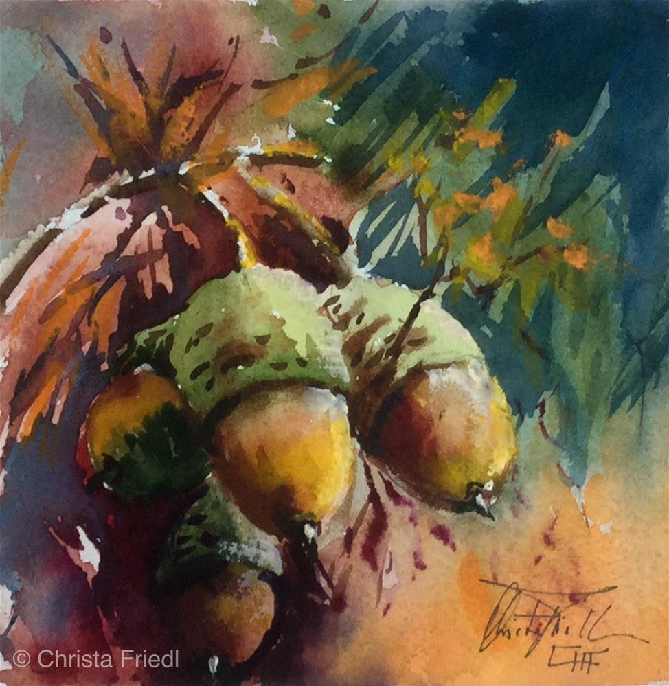 """acorns"" original fine art by Christa Friedl"