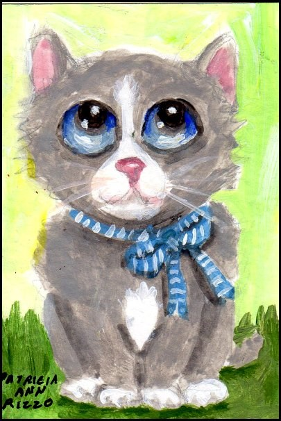 """Sad Little Kitty Needs a Home"" original fine art by Patricia Ann Rizzo"
