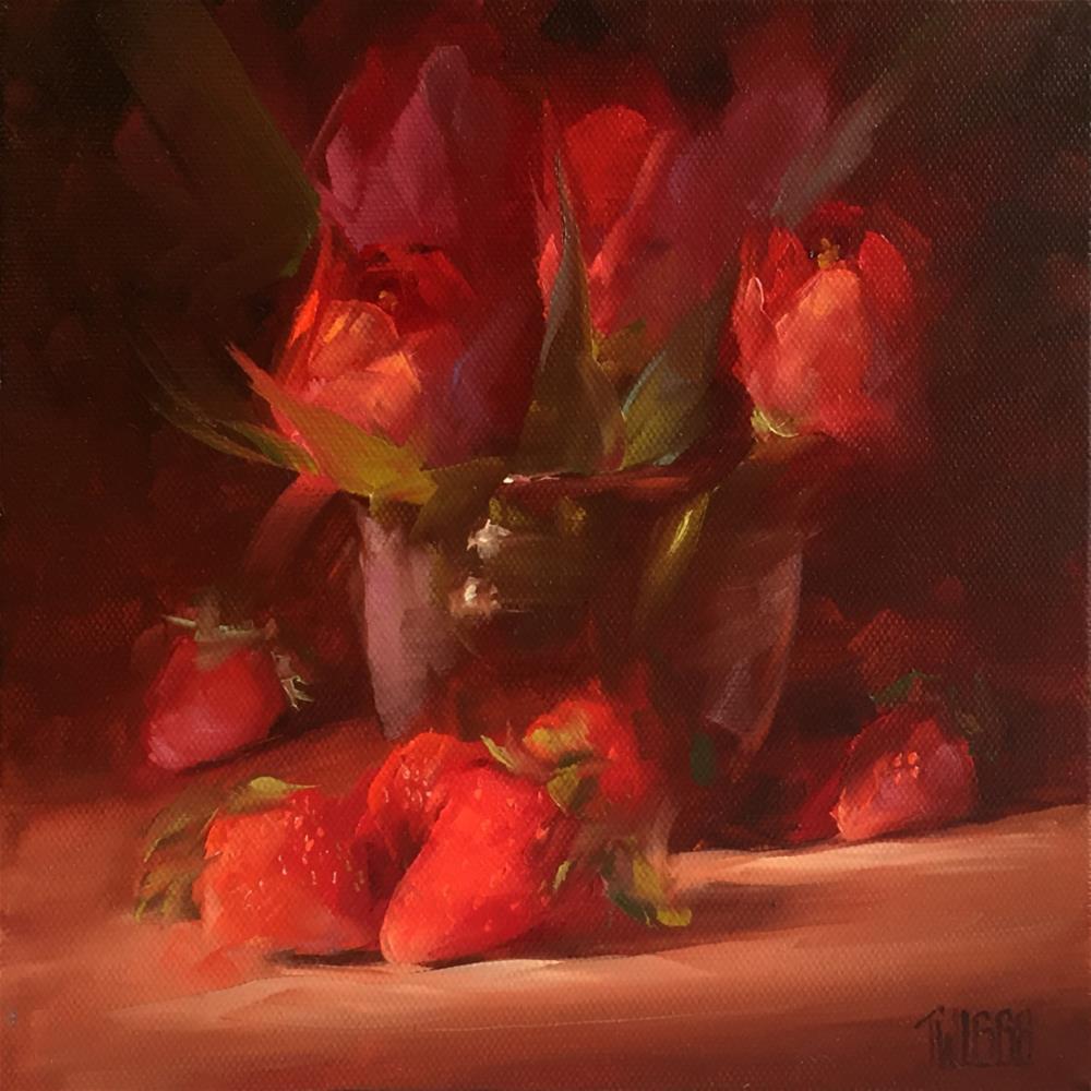 """Tulips & Strawberries"" original fine art by Lori Twiggs"