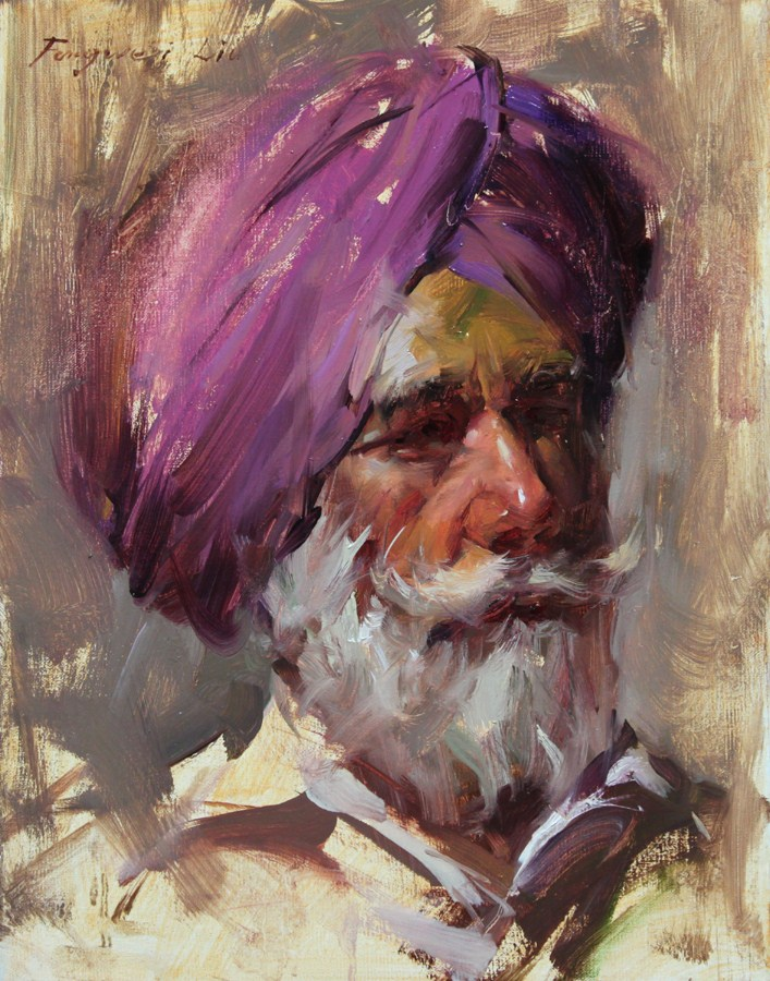 """Grandfather"" original fine art by Fongwei Liu"