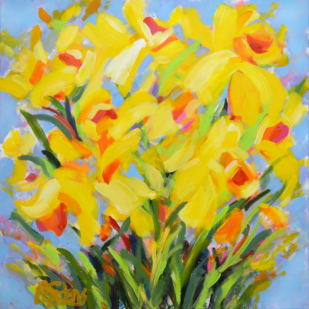 """Wildflowers and Daffodils"" original fine art by Pamela Gatens"