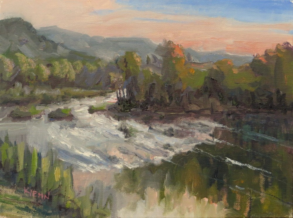 """The Rapids at Sunset"" original fine art by Richard Kiehn"