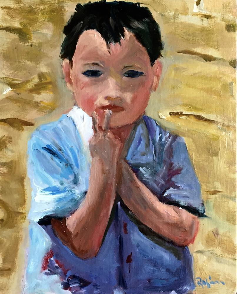 """Great Wall Boy"" original fine art by Renee Robison"
