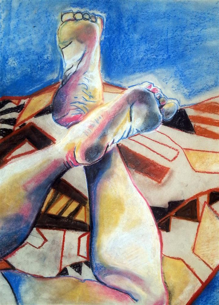 """Cross Legged"" original fine art by Nava Judith"