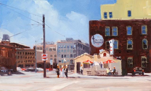 """Main Street Gyros  Seattle city scenes."" original fine art by Robin Weiss"