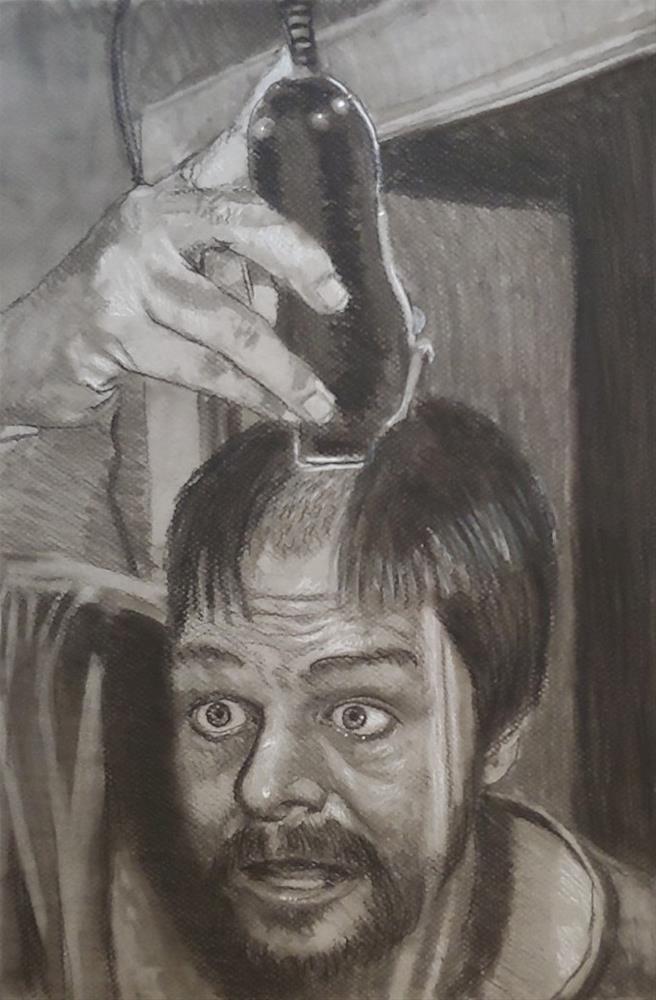 """""""A hair cut in the time of Covid"""" original fine art by Edward Watson"""