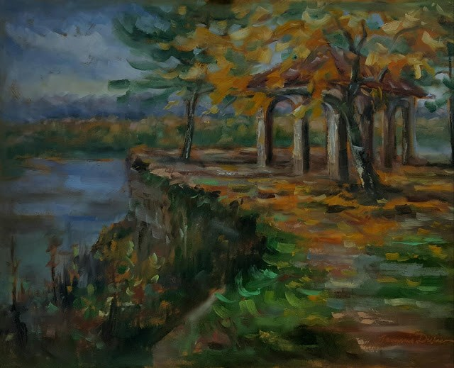 """""""Fall over the Mississippi River"""" original fine art by Tammie Dickerson"""
