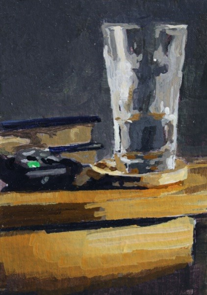 """Books, water and remote."" original fine art by Chris Breier"