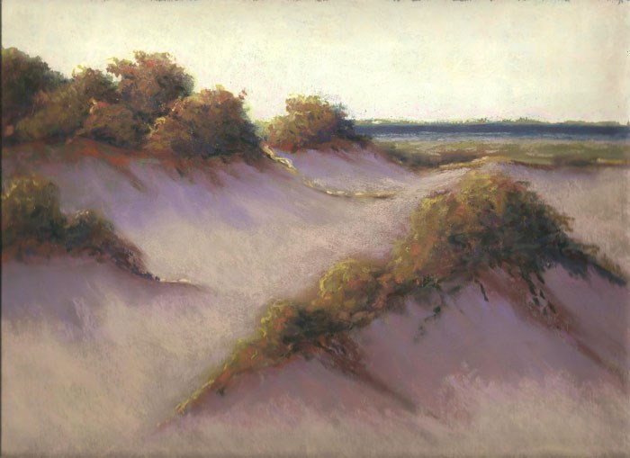 """Warm Light in the Sand Dunes Soft Pastel Painting"" original fine art by Nancy Poucher"