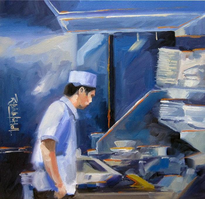 """No 553 Cooking Up"" original fine art by Robin J Mitchell"