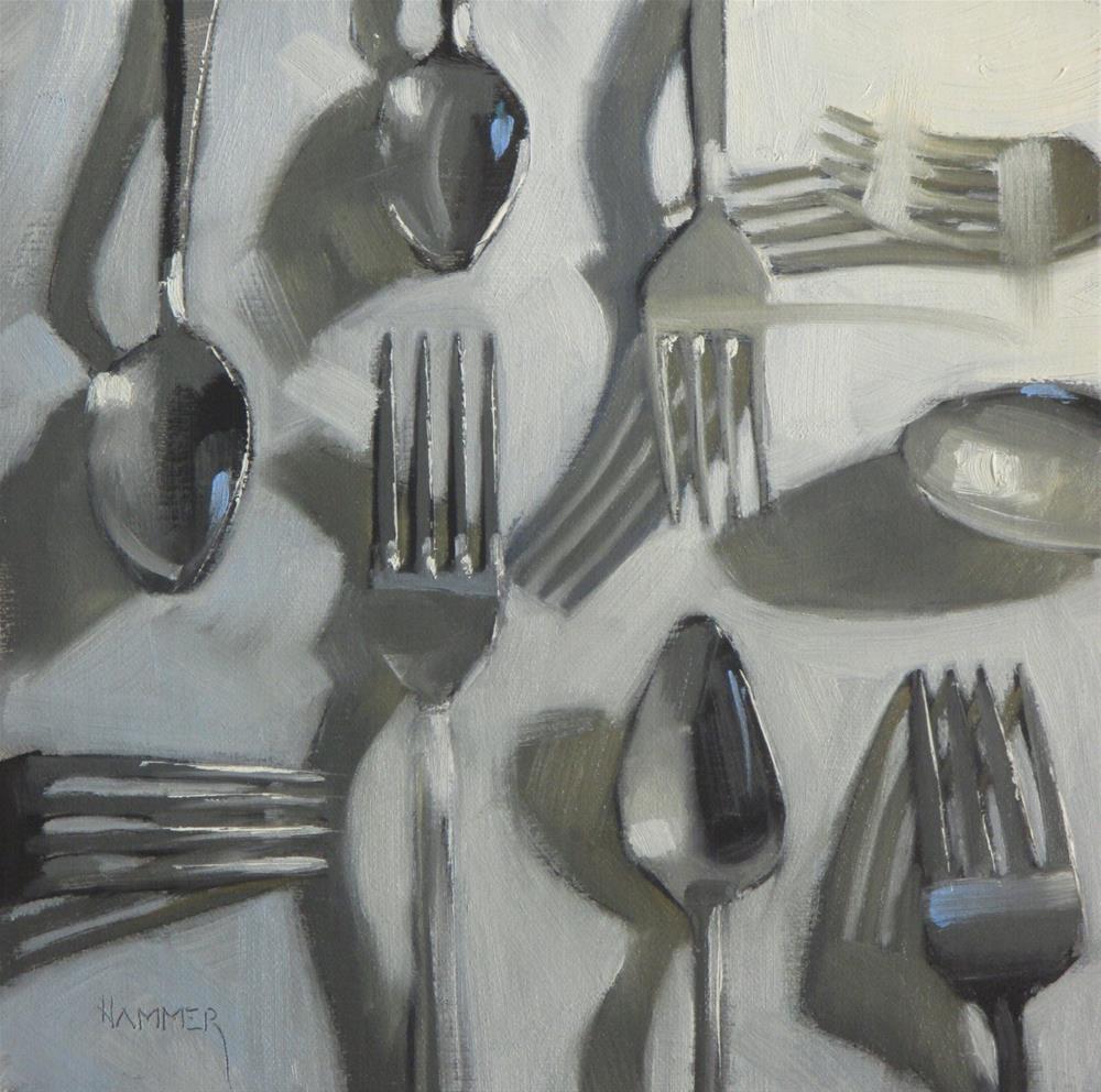 """""""Forks 'n Spoons  8in x 8in  oil"""" original fine art by Claudia Hammer"""