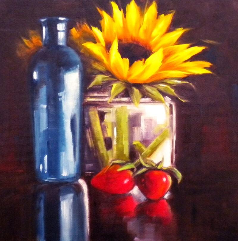 """Strawberries and Sunflowers"" original fine art by Darla McDowell"