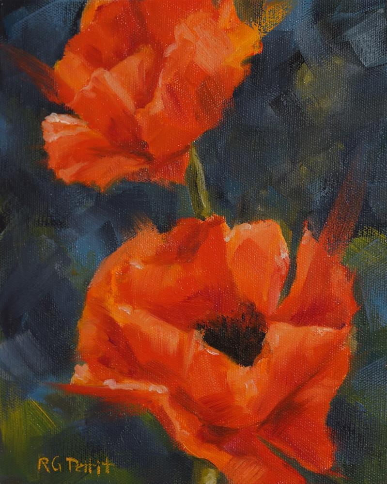 """""""2 Poppies"""" original fine art by Rhea  Groepper Pettit"""