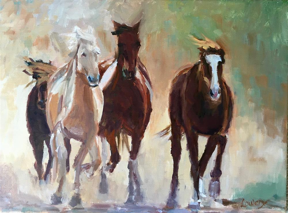 """""""Mustangs"""" original fine art by Wanda Lowery"""