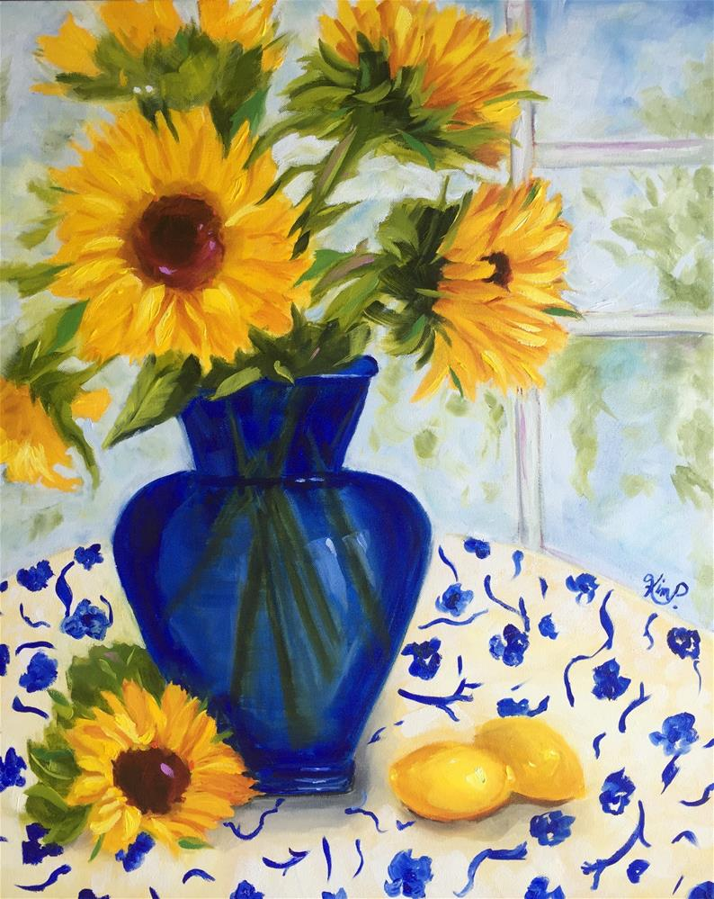 """Still Life with Sunflowers in Cobalt Blue Vase, Lemons, Blue and White Tablecloth"" original fine art by Kim Peterson"
