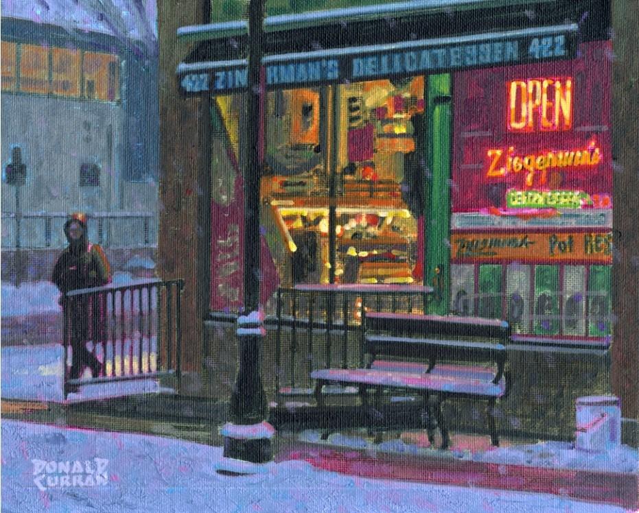 """Winter Street Scene"" original fine art by Donald Curran"