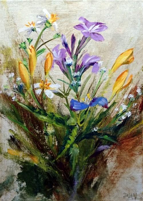 """Lovely Levee Wildflowers"" original fine art by Dalan Wells"