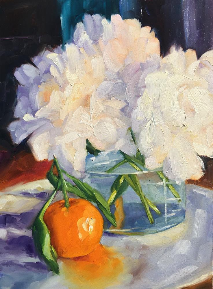 """Peonies & Satsuma"" original fine art by Hallie Kohn"